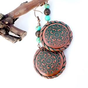Mandala fülbevaló, kerek fülbevaló ékszergyurmából, Ékszer, Fülbevaló, Lógós kerek fülbevaló, Ékszerkészítés, Gyurma, Türkiz és bronz, azt hiszem már a színek is imádnivalóak, de ez a keleties marokkói mintás fülbevaló..., Meska