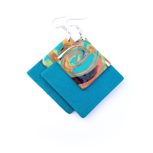 Kék, négyzet fülbevaló ékszergyurmából, örvény mintával, Ékszer, Fülbevaló, Lógó fülbevaló, Ékszerkészítés, Gyurma, Ékszergyurmából készítettem ezt az örvénylő mintás fülbevalót. Gyönyörű kék négyzet alapra tettem a ..., Meska