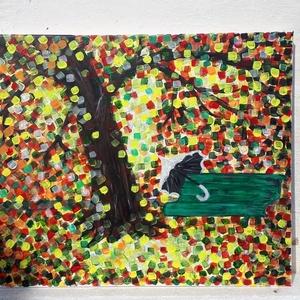 Ősz, Otthon & lakás, Képzőművészet, Festmény, Akril, Festészet, 50x40 cm-es feszített vászonra készített akril festmény. Keretezést nem igényel., Meska