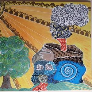 Mesevilág, Otthon & lakás, Képzőművészet, Festmény, Akril, Festészet, 25x30 cm-es farostlemezre készített akril festmény zentangle díszítéssel. Keretezést nem igényel...., Meska