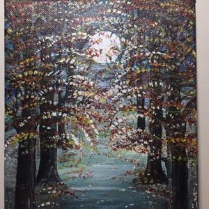 Őszi hold, Otthon & lakás, Képzőművészet, Festmény, Akril, Festészet, 18x24 cm-es farostlemez készített akril festmény. Keretezést nem igényel., Meska