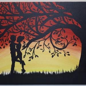Titkos randevú, Otthon & lakás, Képzőművészet, Festmény, Akril, Festészet, 18x24 cm-es farostlemezre készített akril festmény. Keretezést nem igényel., Meska