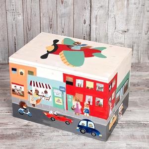 Kézzel festett játékláda - unisex, Gyerek & játék, Gyerekszoba, Gyerekbútor, Tárolóeszköz - gyerekszobába, Famegmunkálás, Festészet, Játéktároló láda gyerekeknek/gyerekszobába. Minden láda egyedileg készül, a megrendelő igényei szeri..., Meska