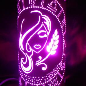 Szűz csillagjegy - hangulatlámpa, Hangulatlámpa, Lámpa, Otthon & Lakás, Gravírozás, pirográfia, 27 cm magas, 12,5 cm átm., kizárólag LED-izzóval (E27) használható kézzel készített műanyag hangulat..., Meska