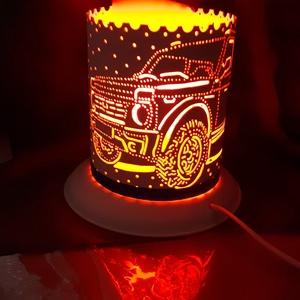 Autós, Otthon & Lakás, Lámpa, Hangulatlámpa, Gravírozás, pirográfia, 15 cm magas, 12,5 cm átm., kizárólag LED-izzóval (E27) használható kézzel készített műanyag hangulat..., Meska