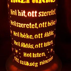 Házi áldás, Otthon & Lakás, Lámpa, Hangulatlámpa, Gravírozás, pirográfia, 20 cm magas, 12,5 cm átm., kizárólag LED-izzóval (E27) használható kézzel készített műanyag hangulat..., Meska