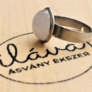 Rózsakvarc nemesacél gyűrű, Ékszer, Gyűrű, Ékszerkészítés, Nemesacél gyűrű rózsakvarc ásvánnyal, a gyűrű mérete állítható., Meska