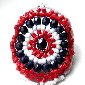 Tengerész gyűrű, Ékszer, Gyűrű, Gyöngyfűzés, gyöngyhímzés, A kerek gyűrű mellett az egyik kedvenc gyűrűmintám, több verzióban is elkészítettem Biloba mintája a..., Meska