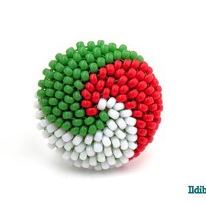 Piros fehér zöld spirálos kerek gyűrű - Meska.hu