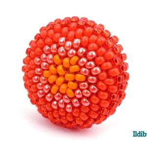 Színátmenetes narancssárga kerek gyűrű, Gyöngyös gyűrű, Gyűrű, Ékszer, Gyöngyfűzés, gyöngyhímzés, Sok színben és több verzióban láthatod ezt a stílusú gyűrűt a boltomban (illetve érdemes szétnézni a..., Meska