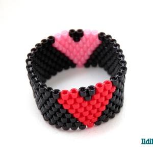 2in1 szíves gyűrű - piros/rózsaszín, Ékszer, Gyöngyös gyűrű, Gyűrű, Gyöngyfűzés, gyöngyhímzés, Meska