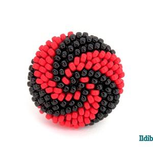 Spirálos 2 színű kerek gyűrű fekete piros - Meska.hu