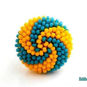Spirálos 2 színű kerek gyűrű - azúrkék égen a nap, Gyöngyös gyűrű, Gyűrű, Ékszer, Gyöngyfűzés, gyöngyhímzés, Sok színben láthatod ezt a gyűrűmet a boltomban (illetve érdemes szétnézni az eladott termékeim közö..., Meska