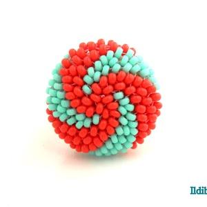 Spirálos 2 színű kerek gyűrű korall és menta, Statement gyűrű, Gyűrű, Ékszer, Gyöngyfűzés, gyöngyhímzés, Sok színben láthatod ezt a gyűrűmet a boltomban (illetve érdemes szétnézni az eladott termékeim közö..., Meska