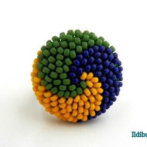 Spirálos 3 színű matt kerek gyűrű 50. verzió - zöld, kék, sárga, Ékszer, Gyűrű, Kerek gyűrű, Gyöngyfűzés, gyöngyhímzés, Meska