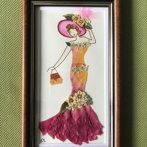 Hölgy 2   13cm 22cm, Otthon & lakás, Dekoráció, Dísz, Kép, Lakberendezés, Falikép, Mindenmás, Préseltvirág kép fa keretben, üveglappal, Meska