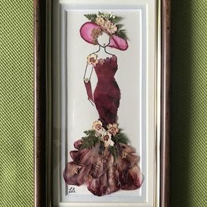 Hölgy 7   13cm 22cm, Otthon & lakás, Dekoráció, Dísz, Kép, Lakberendezés, Falikép, Mindenmás, Préseltvirág kép fa keretben, üveglappal, Meska