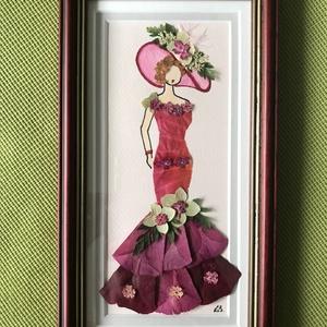 Hölgy 8   13cm 22cm, Otthon & lakás, Dekoráció, Dísz, Kép, Lakberendezés, Falikép, Mindenmás, Préseltvirág kép fa keretben, üveglappal, Meska