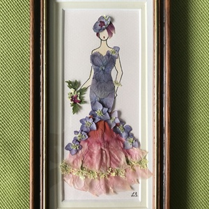 Hölgy 9   13cm 22cm, Otthon & lakás, Dekoráció, Dísz, Kép, Lakberendezés, Falikép, Mindenmás, Préseltvirág kép fa keretben, üveglappal, Meska