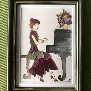 Zongoraóra   15cm 20cm, Otthon & lakás, Dekoráció, Dísz, Kép, Lakberendezés, Falikép, Mindenmás, Préseltvirág kép fa keretben, üveglappal, Meska