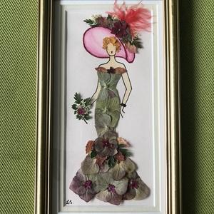 Hölgy kalapban   14cm 25cm, Otthon & lakás, Dekoráció, Dísz, Kép, Lakberendezés, Falikép, Mindenmás, Préseltvirág kép fa keretben, üveglappal, Meska