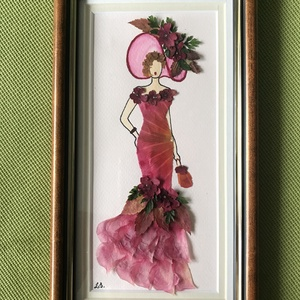 Hölgy kalapban 2   14cm 25cm, Otthon & lakás, Dekoráció, Dísz, Kép, Lakberendezés, Falikép, Mindenmás, Préseltvirág kép fa keretben, üveglappal, Meska