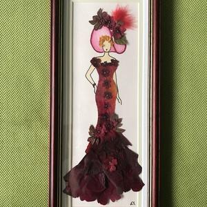 Hölgy kalapban 3  13cm 30cm, Otthon & lakás, Dekoráció, Dísz, Kép, Lakberendezés, Falikép, Mindenmás, Préseltvirág kép fa keretben, üveglappal, Meska