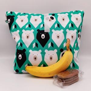Uzsonnás táska - Lunch bag - Zero waste (nagy méret), Táska & Tok, Uzsonna- & Ebéd tartó, Ebéd tasak, doboz, Varrás, Környezetbarát, újrahasználható uzsonnás táska,  csomagolási alternatíva nem csak gyerekeknek a nejl..., Meska