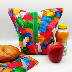Uzsonnás táska snackbaggel - Lunch bag - Zero waste , Táska & Tok, Uzsonna- & Ebéd tartó, Ebéd tasak, doboz, Varrás, Környezetbarát, újrahasználható uzsonnás táska,  csomagolási alternatíva nem csak gyerekeknek a nejl..., Meska