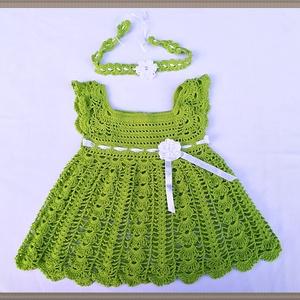 Horgolt kislány ruha fejpánttal 6-10 hónapos babára., Ruha & Divat, Babaruha & Gyerekruha, Ruha, Horgolás, Horgolt lányka ruha, 6-10 hónapos babára.Zöld, bébifinomságú Catania 100% pamut fonalból.\nÉdesanyám ..., Meska