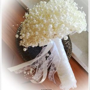 Gyöngycsokor.  Menyasszonyi örök csokor  60 méter beige gyöngyfüzérből. (Ilkamuvek) - Meska.hu
