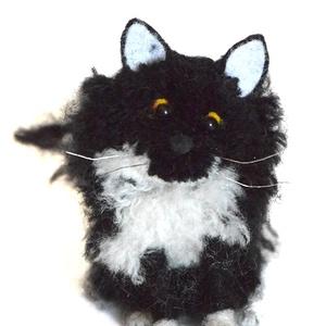 Fekete-fehér hosszú szőrű cica - kölyök - AKCIÓ!! - otthon & lakás - Meska.hu
