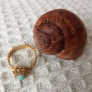 Türkenit gömb gyűrű, Szoliter gyűrű, Gyűrű, Ékszer, Ékszerkészítés, A gyűrűt gömb formájú türkenit, türkiz színű kővel díszítettem.\nA gyűrűsin réz huzalból horgolással ..., Meska