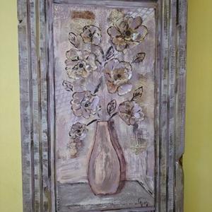 Antik hatású vintage falikép, Kép & Falikép, Dekoráció, Otthon & Lakás, Famegmunkálás, Festett tárgyak, Többféle dekor technikával készült vintage virág csendélet a speciálisan  hozzá készített  színharmó..., Meska
