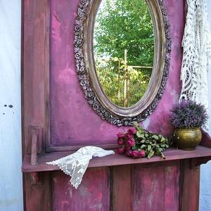 Csodás romantikus dekorfal,előszoba fal, Otthon & lakás, Lakberendezés, Dekoráció, Famegmunkálás, Festészet, Nagyon régi, tömör fa ajtót újítottam meg átalakítással és festettem meg csodaszép antikolt színekbe..., Meska