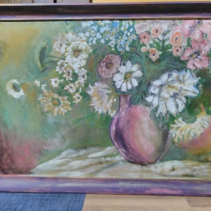 Rusztikus dekorkép, Otthon & Lakás, Lakberendezés, Festett tárgyak, Rusztikus festésű virágcsendélet színharmonizált keretben Méret kerettel: 48x65 cm, Meska