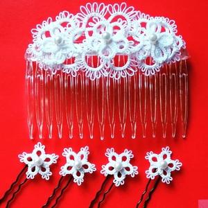 Esküvői  fésűs fejdísz, kontydísz, Egyéb, Esküvő, Hajdísz, ruhadísz, Csipkekészítés, Hajócsipke technikával, 100% pamut fonalból készült  esküvői fejdísz/kontydísz és 10 db hajtű. Konty..., Meska