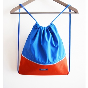 Narancssárga kék vízlepergető hátizsák / tornazsák, Táska, Táska, Divat & Szépség, Hátizsák, Varrás, Narancssárga kék vízlepergető hátizsák vagy tornazsák. Szuper nyári kiegészítő, fesztiválokra vagy n..., Meska