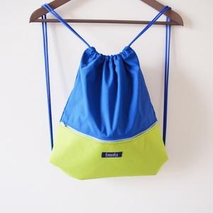 Neon zöld kék vízlepergető hátizsák / tornazsák, Táska, Táska, Divat & Szépség, Hátizsák, Varrás, Neon zöld kék vízlepergető hátizsák vagy tornazsák. Szuper nyári kiegészítő, fesztiválokra vagy nagy..., Meska