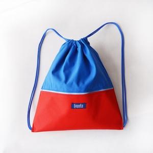 Piros kék vízlepergető hátizsák / tornazsák, Táska, Divat & Szépség, Táska, Hátizsák, Varrás, Piros kék vízlepergető hátizsák vagy tornazsák. Szuper nyári kiegészítő, fesztiválokra vagy nagy sét..., Meska