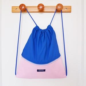 Kék rózsaszín vízlepergető hátizsák / tornazsák, Táska, Táska, Divat & Szépség, Hátizsák, Varrás, Világoskék pasztell rózsaszín vízlepergető hátizsák vagy tornazsák. Szuper nyári kiegészítő, fesztiv..., Meska