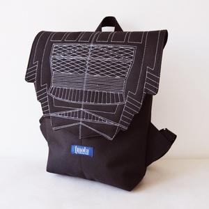 Fekete karbon mintázatú vízlepergető hátizsák épület mintával, Táska & Tok, Hátizsák, Hátizsák, Varrás, Meska