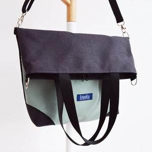 Menta zöld és kéttónusú barna-kék válltáska / oldaltáska variálható - táska & tok - kézitáska & válltáska - válltáska - Meska.hu