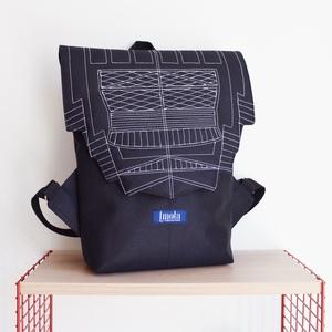 Fekete vízlepergető kicsi hátizsák épület mintával, Táska & Tok, Hátizsák, Hátizsák, Varrás, Meska