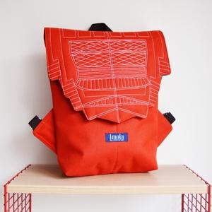 Narancssárga vízlepergető kicsi hátizsák épület mintával, Táska & Tok, Hátizsák, Hátizsák, Varrás, Meska