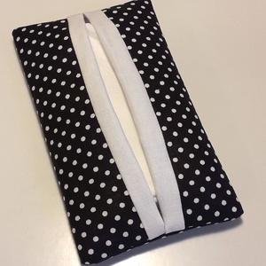 Pöttyös zsepitartó (fekete-fehér), NoWaste, Varrás, Fekete-fehér pöttyös vászonból készítettem a képen látható papírzsepi tartót. \n\nPöttyös mintájából a..., Meska