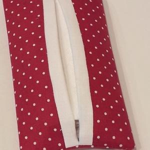 Pöttyös zsepitartó (piros-fehér), NoWaste, Varrás, Bordóspiros-fehér pöttyös vászonból készítettem a képen látható papírzsepi tartót. \n\nPöttyös mintájá..., Meska