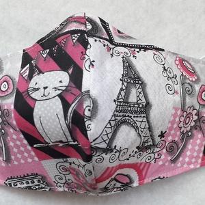 Párizs cicás textil maszk , Maszk, Arcmaszk, Gyerek, Varrás, Pink színű, Párizs és cica mintás pamutvászonból készült textil maszk.\n\nBelső része sima fehér anyag..., Meska