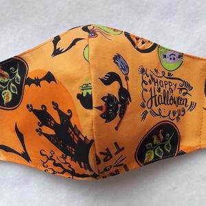 Halloween maszk , Maszk, Arcmaszk, Férfi & Uniszex, Varrás, Narancssárga alapon Halloween mintás pamutvászonból készítettem a képen látható kétrétegű maszkot.  ..., Meska