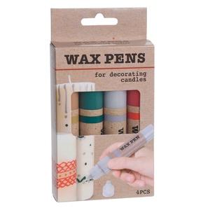 Gyertya díszítő toll, viasz díszítő szett / WAX PENS, Dekorációs kellékek, Gyertyaöntés, A szettben 4 db 40 grammos tubusos viasz díszítő toll van arany, ezüst, piros és zöld színekben...., Meska